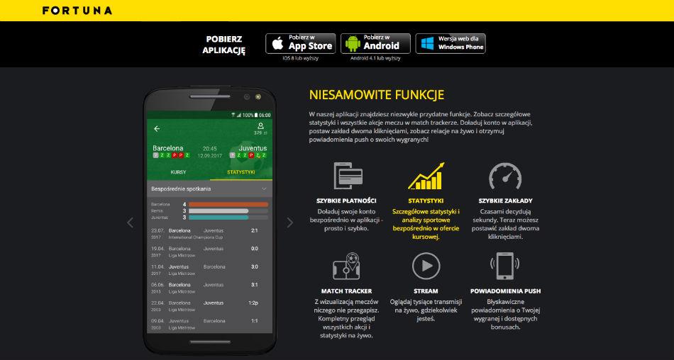 fortuna aplikacja mobilna na telefon opinie 2018