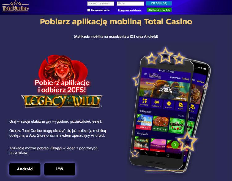 bonus za aplikacje total casino