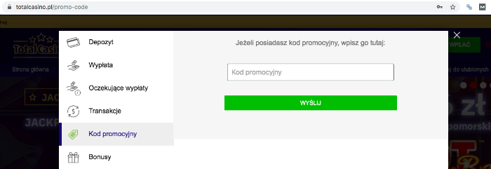 kod promocyjny total casino